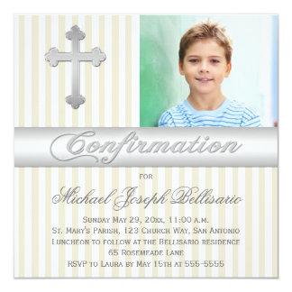 """White Beige Stripes Confirmation Photo Invitation 5.25"""" Square Invitation Card"""