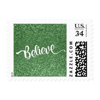 White Believe Typography w/ Green Faux Glitter Postage