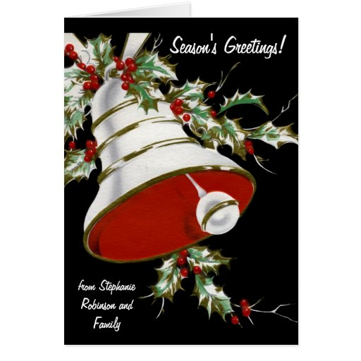 White Bell and Holly Personalized Christmas Cards