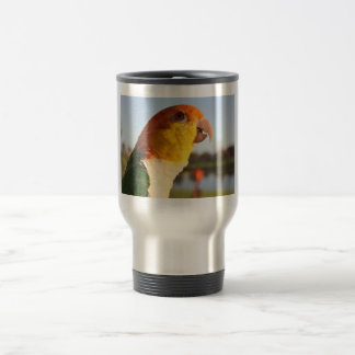 White Bellied Caique Parrot 15 Oz Stainless Steel Travel Mug