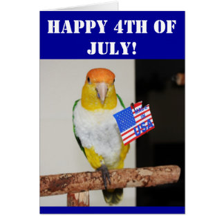 White Bellied Caique Parrot Patriotic 4th of July Card