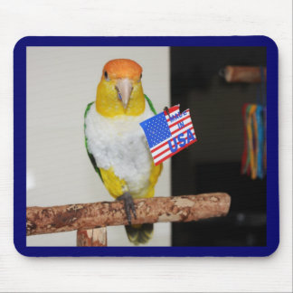 White Bellied Caique Parrot Patriotic 4th of July Mouse Pad