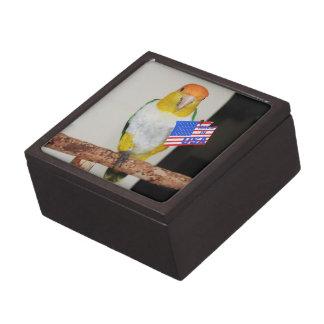 White Bellied Caique Parrot Patriotic 4th of July Premium Keepsake Box