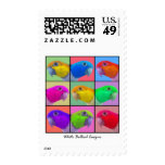 White Bellied Caique Pop Art Postage Stamps