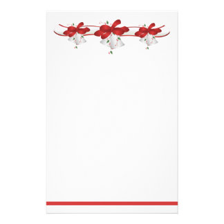 White Bells Red Ribbons Berries Stationery