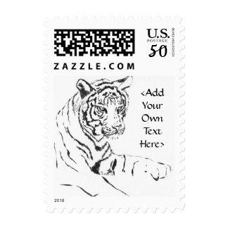 White Bengal Tiger Art Postage Stamp