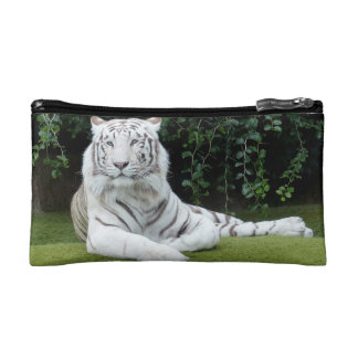white bengal tiger cosmetic bag