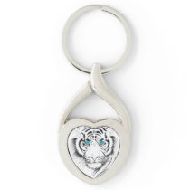 White Bengal Tiger Ink Art Keychain