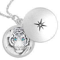 White Bengal Tiger Ink Art Locket Necklace