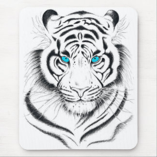 White Bengal Tiger Ink Art Mouse Pad