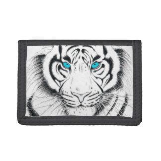 White Bengal Tiger Ink Art Trifold Wallet