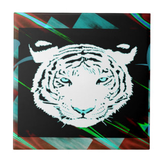 White Bengal Tiger On A Southwest Style Background Tile