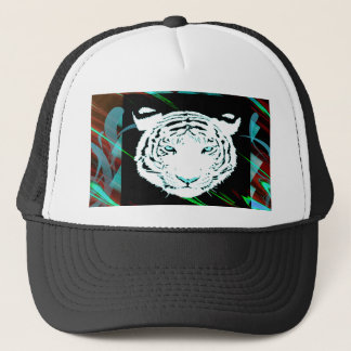 White Bengal Tiger On A Southwest Style Background Trucker Hat