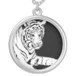 White Bengal Tiger Painting Silver Necklace