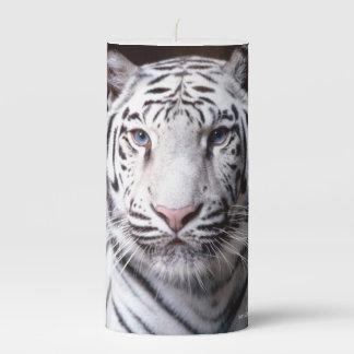 White Bengal Tiger Photograph Pillar Candle