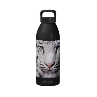 White Bengal Tiger Photography Reusable Water Bottle