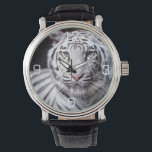 """White Bengal Tiger Photography Wrist Watch<br><div class=""""desc"""">White Bengal Tiger. White close up of a Siberian Tiger Picture.</div>"""