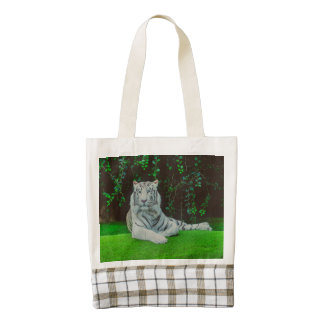 White bengal tiger zazzle HEART tote bag