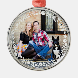 White Berry Framed Custom Photo Metal Ornament