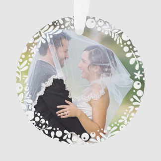 White Berry Framed Wedding Photo First Christmas Ornament