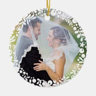 White Berry Framed Wedding Photo with Custom Text Ceramic Ornament