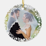 White Berry Framed Wedding Photo with Custom Text Double-Sided Ceramic Round Christmas Ornament
