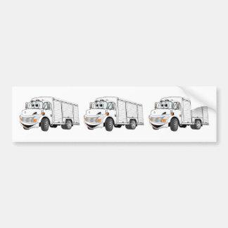 White Beverage Truck Cartoon Bumper Sticker