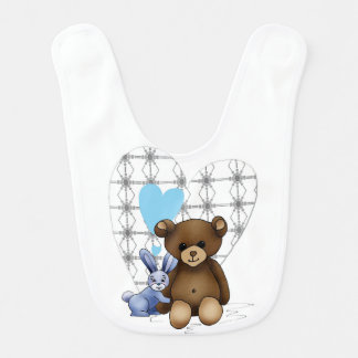 White bib with Teddy and Lapinou