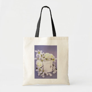 white Bible still life flowers Budget Tote Bag