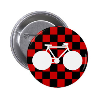white bicycle checkered pinback button