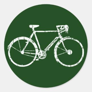 white bicycle classic round sticker