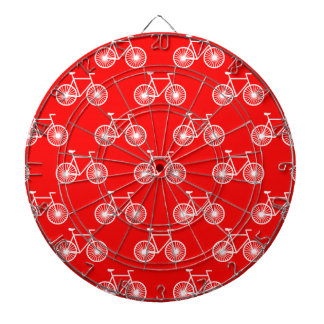 White Bicycle, Cycling Pattern; Bright Red Dartboard With Darts