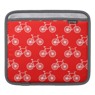 White Bicycle, Cycling Pattern; Bright Red iPad Sleeve