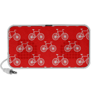 White Bicycle Cycling Pattern Bright Red Travel Speaker