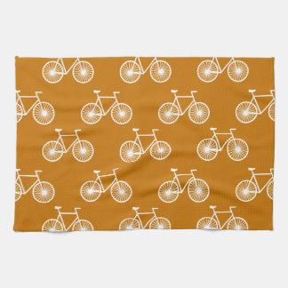 White Bicycle, Cycling Pattern; Burnt Orange Kitchen Towels