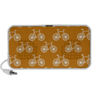 White Bicycle Cycling Pattern Burnt Orange Travelling Speakers