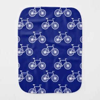 White Bicycle, Cycling Pattern; Dark Blue Baby Burp Cloth