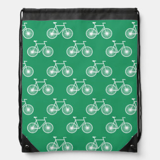White Bicycle, Cycling Pattern; Kelly Green Drawstring Backpack