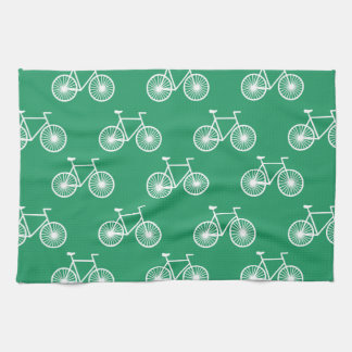 White Bicycle, Cycling Pattern; Kelly Green Hand Towel