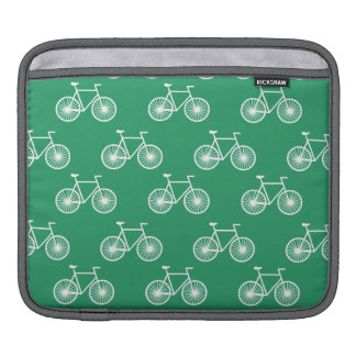 White Bicycle, Cycling Pattern; Kelly Green Sleeve For iPads