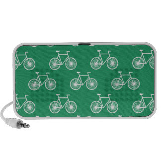 White Bicycle Cycling Pattern Kelly Green Portable Speaker