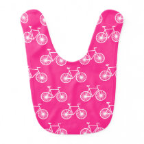 White Bicycle, Cycling Pattern; Neon Pink Baby Bib