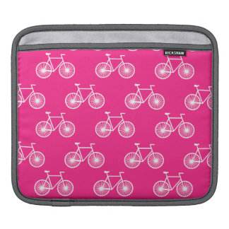White Bicycle, Cycling Pattern; Neon Pink Sleeve For iPads