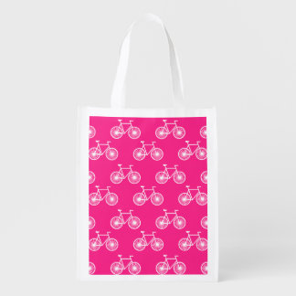 White Bicycle, Cycling Pattern; Neon Pink Reusable Grocery Bag