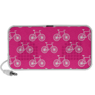 White Bicycle Cycling Pattern Neon Pink Mp3 Speakers