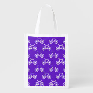 White Bicycle, Cycling Pattern; Violet Blue Purple Grocery Bag