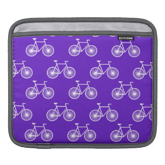 White Bicycle, Cycling Pattern; Violet Blue Purple iPad Sleeve