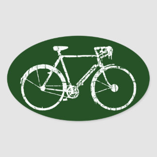 white bicycle oval sticker