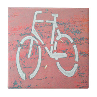 White Bicycle Red Street, Traffic Sign Bicycles Ceramic Tile