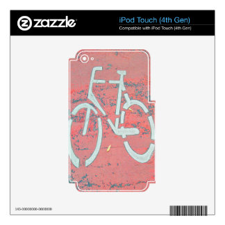 White Bicycle Red Street, Traffic Sign Bicycles Decals For iPod Touch 4G